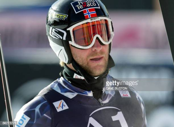 Kjetil Andre Aamodt of Norway waits in the finish area 25 November 2005 after his final training run for the first downhill race of the season in...