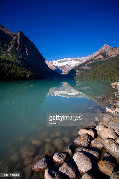 Lake Louise on Blue Sky Background