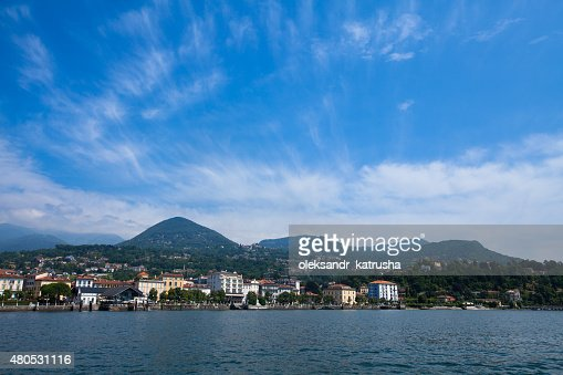 Lake Maggiore panorama as seen from water : Stock Photo