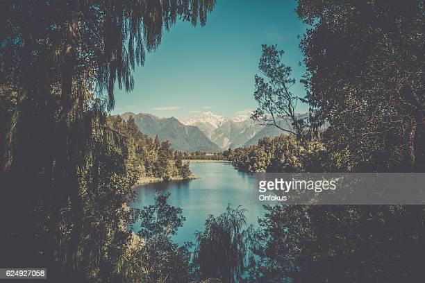 Lake Matheson Landscape Panorama, New Zealand, South Island