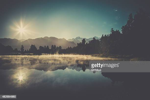 Lake Matheson Nature Panorama at Sunrise, New Zealand