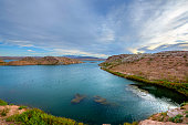 Lake Mead at sunrise with record low water level   Las Vegas Nevada