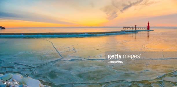 Lake Michigan Harbor freezing over in January