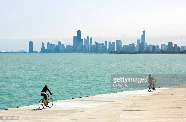Lake Michigan with skyline and bicyclers