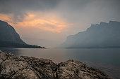 forest fire smoke at Lake Minnewanka at Sunrise