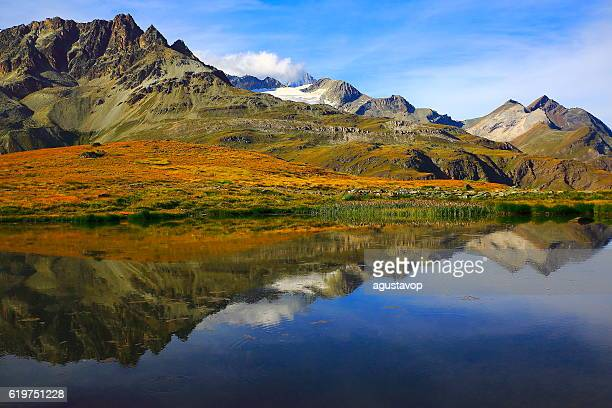 Lake mirrored swiss alps reflection, golden autumn Field, Zermatt