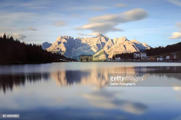 Lake misurina during sunrise in Dolomite, Italy.
