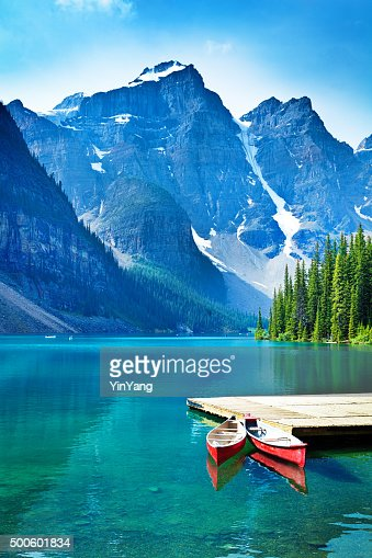 Lake Moraine and Canoe Dock in Banff National Park