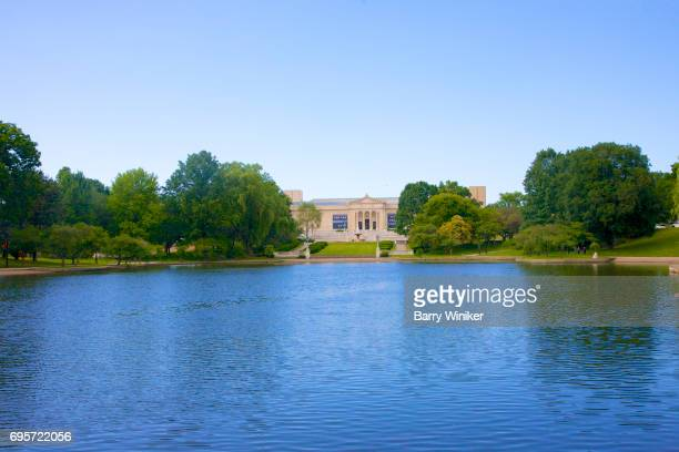 Lake, museum, trees and blue sky, Cleveland