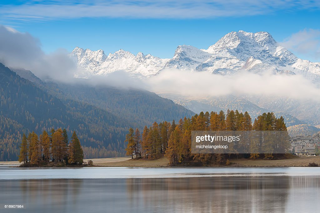 Lake of the Engadine valley near Sankt Moritz : Stock Photo