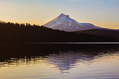 A surreal view of snowcapped Mt. McLaughlin as seen from Lake of the Woods, Oregon.