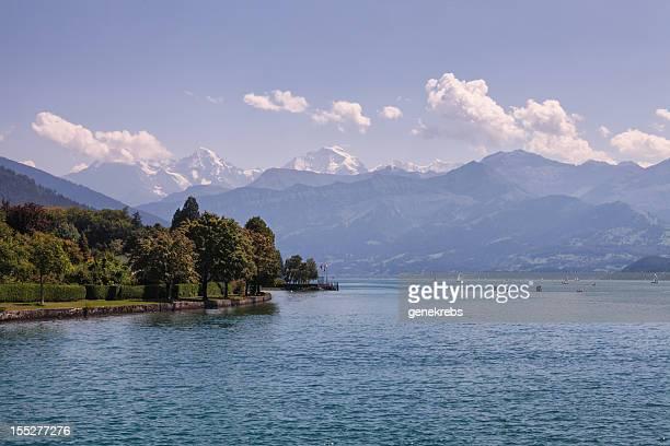 Lake of Thun and The Swiss Alps