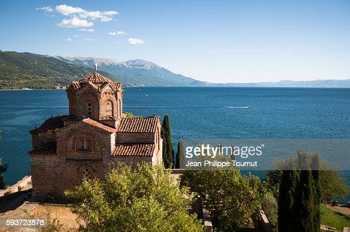 Lake Ohrid and the Macedonian Orthodox church of Saint John at Kaneo, Republic of Macedonia