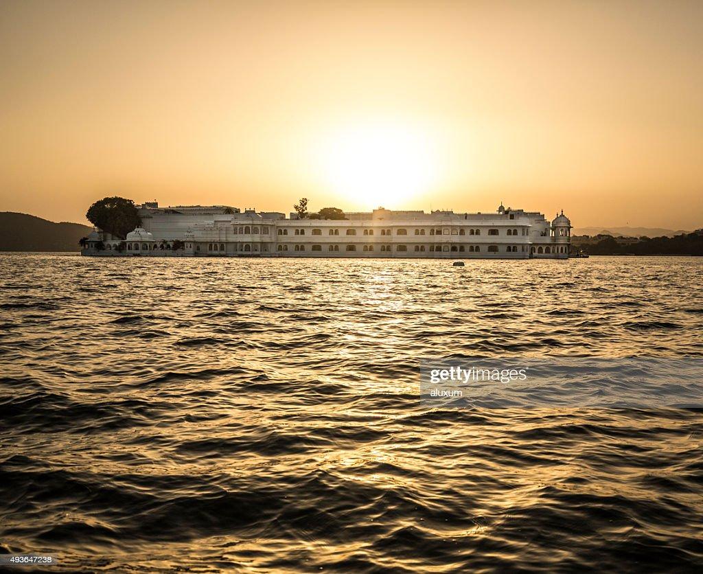 Lake Palace at sunset Udaipur India : Stock Photo