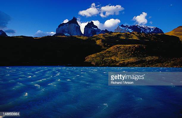 Lake Pehoe and the Cuernos del Paine (Horns of Paine), Patagonia.