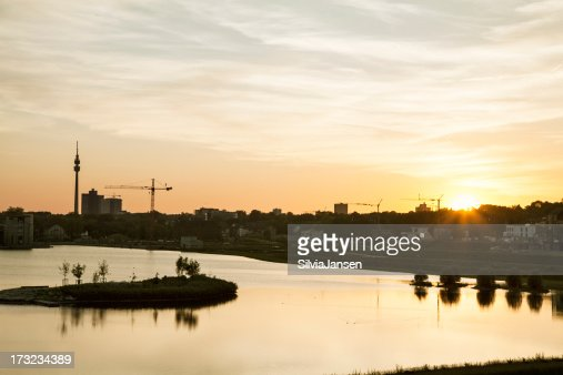 lake phoenix in Dortmund, city skyline at sunset