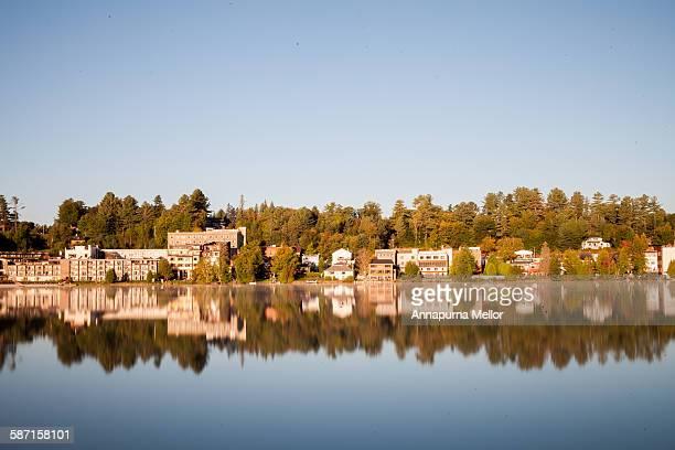 Lake Placid Village reflecting into Mirror Lake