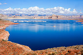 A view over Lake Powell and down to the marina at Glen Canyon National Recreation Area in Utah.