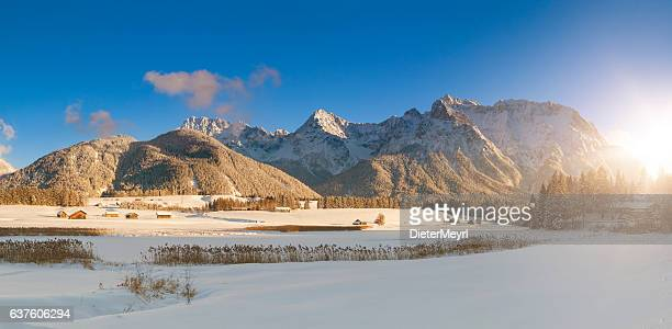 Lake Schmalensee, winter at Mittenwald in the alps of Bavaria