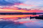 Sunset seen on a lake