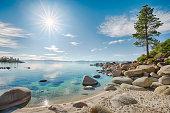 Lake Tahoe east shoreline, rocky beach in sunny day
