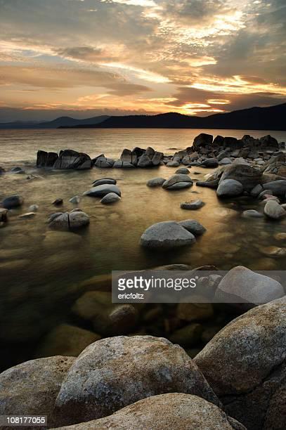 Lake Tahoe Shoreline at Sunset