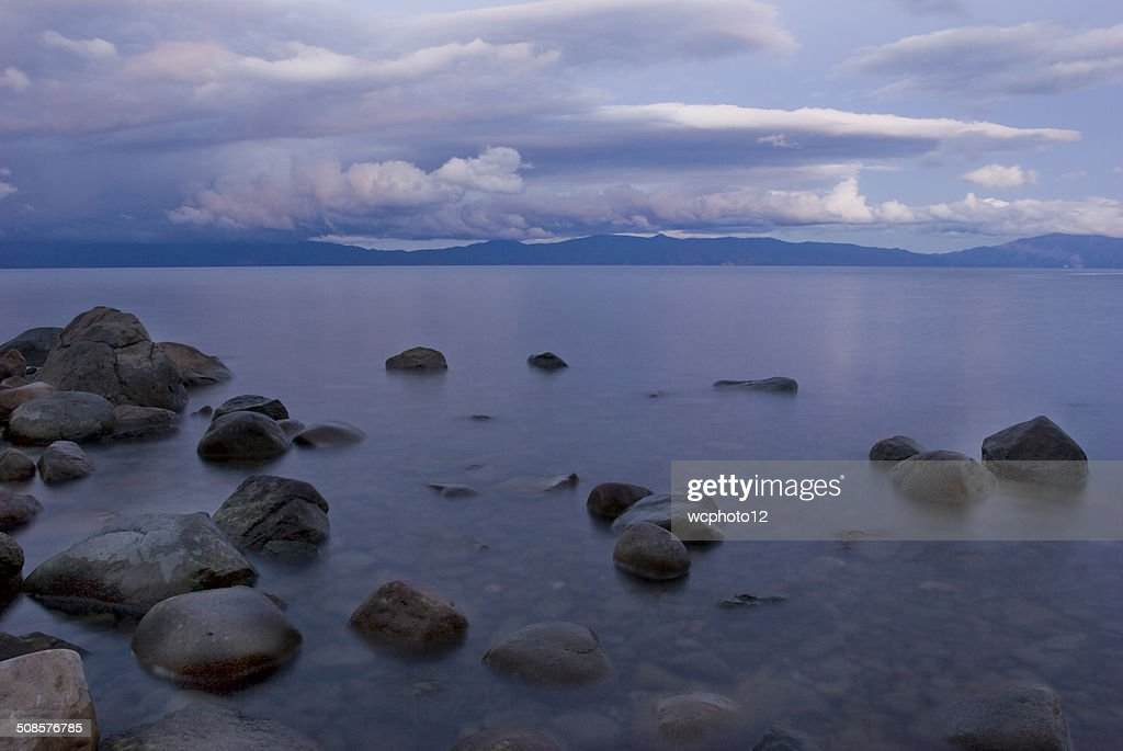 Lake Tahoe shoreline at sunset : Stock Photo