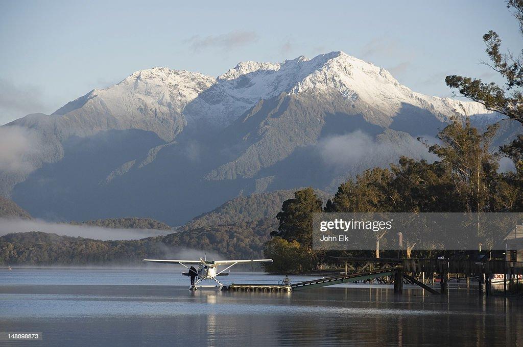 Lake Te Anau with seaplane.