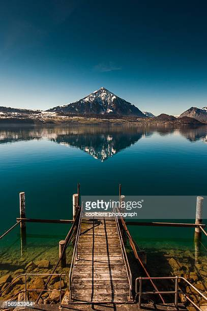 lake Thun with reflection of Mt. Morgenberghorn