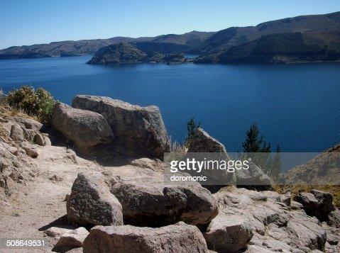 lake Titicacalake Titicaca bay in copacabana in bolivia mountains : Stock Photo