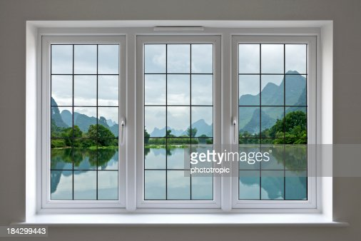lake view through white windows