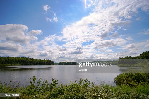 Lake with a forest shoreline on a partly cloudy day