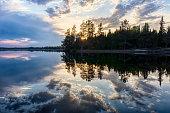 Lake, Dusk, Cloudscape, Sky, Reflections
