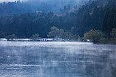 Lake Yogo at dawn, Shiga Prefecture, Honshu, Japan