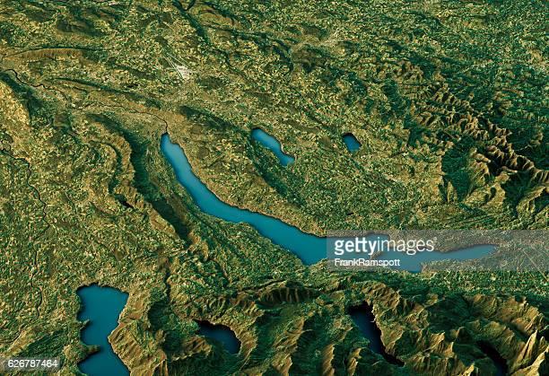 Lake Zurich 3D Landscape View South-North Natural Color