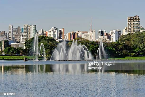 Lakefront and city skyline of Sao Paulo, Brazil