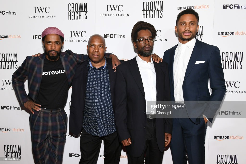 Lakeith Stanfield, Carl King, Colin Warner, and Nnamdi Asomugha attend the 'Crown Heights' New York premiere at Metrograph on August 15, 2017 in New York City.