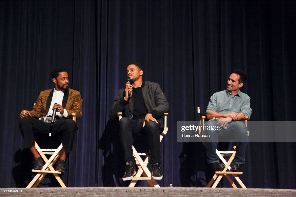 Lakeith Stanfield, Nnamdi Asomugha and Nestor Carbonell attend the SAG-AFTRA Foundation Conversations Screeningof 'Crown Heights' at Harmony Gold Theatre on August 10, 2017 in Los Angeles, California.