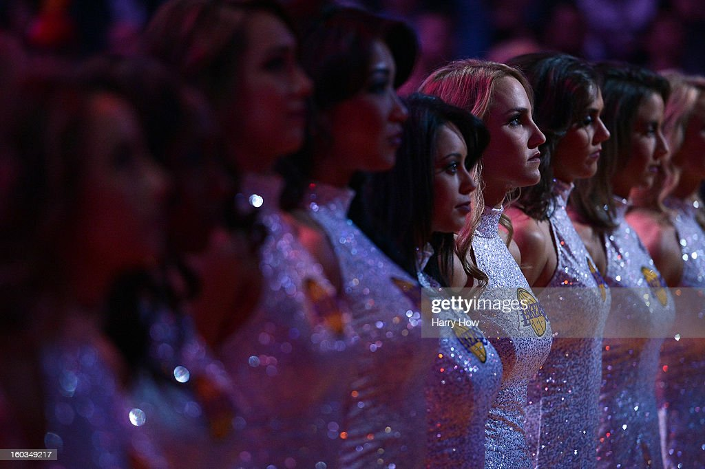 Laker girls during the National Anthem at Staples Center on January 27, 2013 in Los Angeles, California.