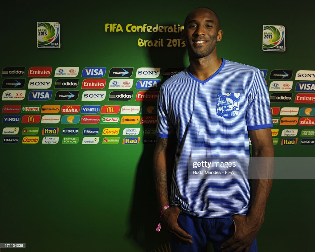 LA Lakers basketball star Kobe Bryant poses prior to the FIFA Confederations Cup Brazil 2013 Group A match between Italy and Brazil at Estadio Octavio Mangabeira (Arena Fonte Nova Salvador) on June 22, 2013 in Salvador, Brazil.