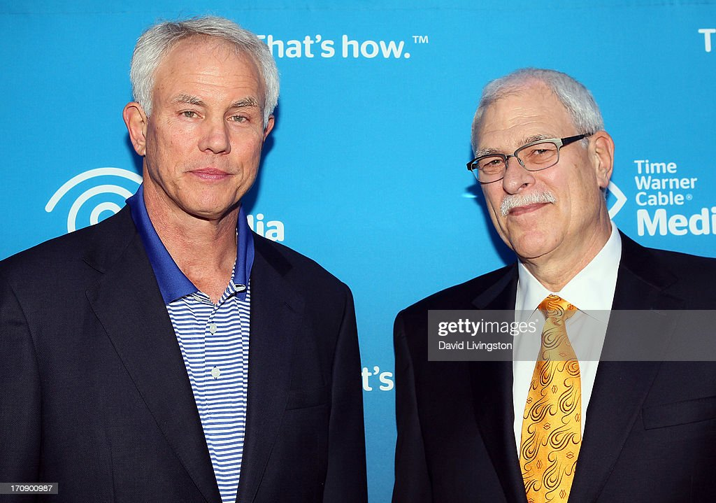 LA Lakers general manager <a gi-track='captionPersonalityLinkClicked' href=/galleries/search?phrase=Mitch+Kupchak&family=editorial&specificpeople=753399 ng-click='$event.stopPropagation()'>Mitch Kupchak</a> (L) and basketball coach <a gi-track='captionPersonalityLinkClicked' href=/galleries/search?phrase=Phil+Jackson&family=editorial&specificpeople=201756 ng-click='$event.stopPropagation()'>Phil Jackson</a> attend Time Warner Cable Media (TWC Media) 'View From The Top' Upfront at Vibiana on June 19, 2013 in Los Angeles, California.