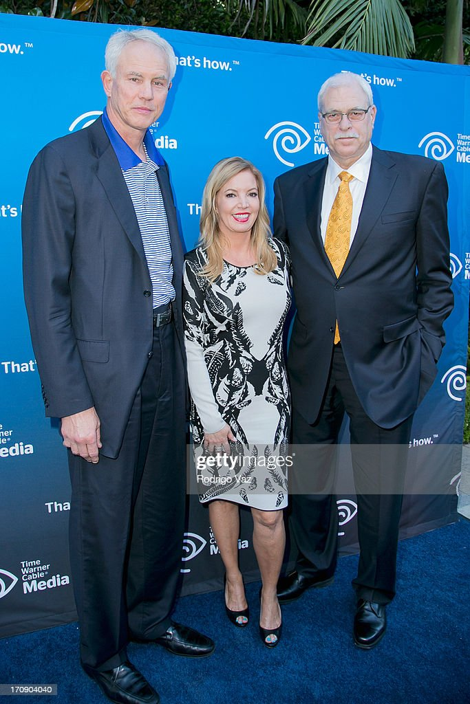 LA Lakers General Manager Mitch Kupchak, EVP Jeanie Buss and retired head coach Phil Jackson attend the Time Warner Cable Media (TWC Media) 'View From The Top' Upfront at Vibiana on June 19, 2013 in Los Angeles, California.
