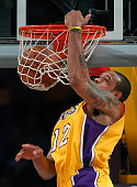 Lakers guard Shannon Brown slams home an alley oop dunk in the first half against the Utah Jazz at Staples Center