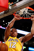 Lakers guard Shannon Brown throws down a dunk off an alley oop pass from Kobe Bryant in the second quarter Friday Dec 11 at Staples Center