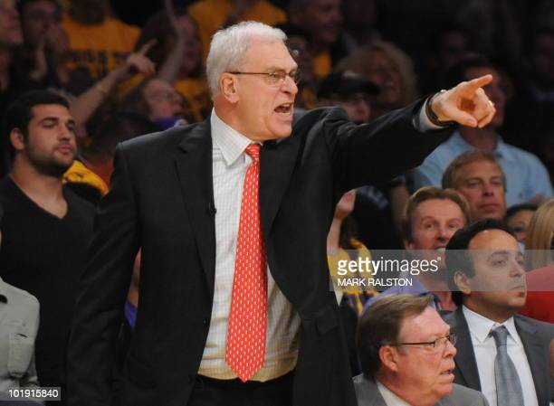 LA Lakers Head Coach Phil Jackson shouts instructions during the Boston Celtics and Los Angeles Lakers game one of the NBA finals at the Staples...