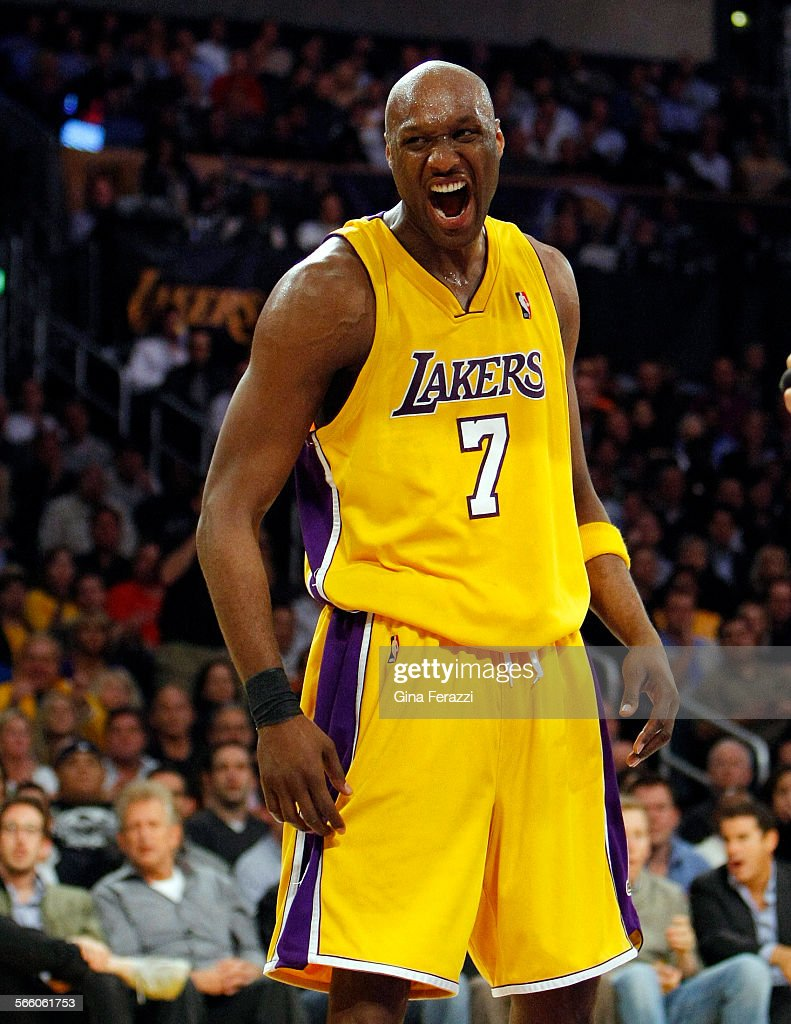 Lakers Lamar Odom lets out a scream after he is fouled by Utah
