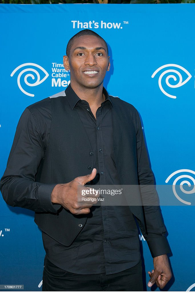 LA Lakers player Metta World Peace attends the Time Warner Cable Media (TWC Media) 'View From The Top' Upfront at Vibiana on June 19, 2013 in Los Angeles, California.