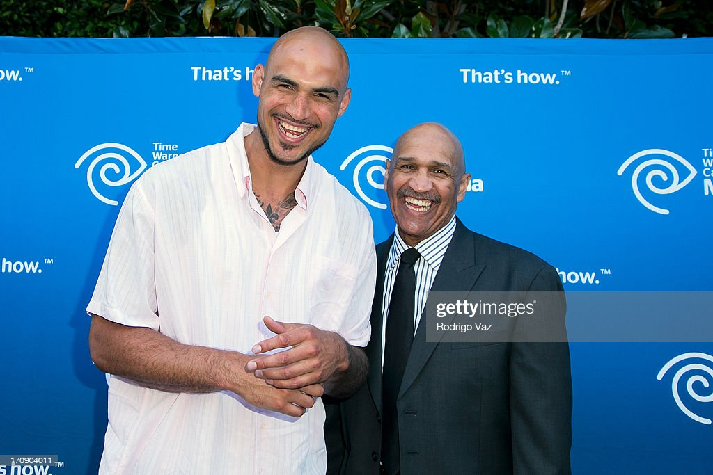 LA Lakers player <a gi-track='captionPersonalityLinkClicked' href=/galleries/search?phrase=Robert+Sacre&family=editorial&specificpeople=4682421 ng-click='$event.stopPropagation()'>Robert Sacre</a> (L) and commentator Stu Lantz attend the Time Warner Cable Media (TWC Media) 'View From The Top' Upfront at Vibiana on June 19, 2013 in Los Angeles, California.
