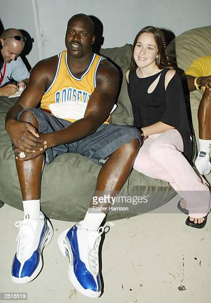Lakers superstar Shaquille O'Neal with singer Rachelle Dobin who teamed up with Athletes and Entertainers for Kids for 'Shaqtacular VIII' benefiting...