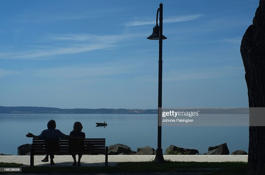 Lakeside Couple : Stock Photo